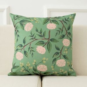 Square Floral Pillow Case Linen Cushion Cover Sofa